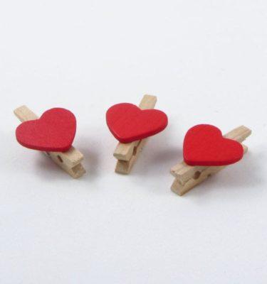10 mini pregadores de coração -  vermelho