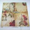 Folha cartolina decorada (scrapbook) - 15x15 torre Eiffel