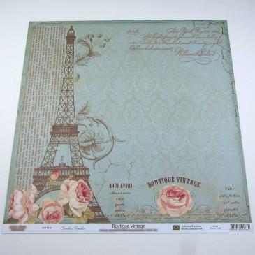 Folha cartolina decorada (scrapbook) - Boutique vintage