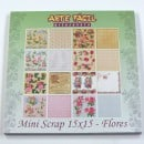 Folha cartolina decorada (scrapbook) - Mini scrap 15x15 flores