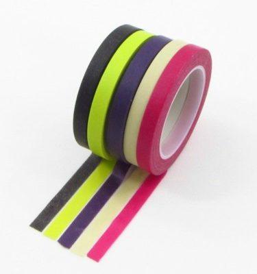 Kit washi tapes - Verde limão + roxo + creme + marrom + rosa
