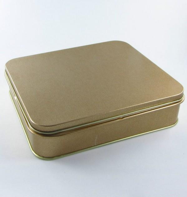 Latinha - Retangular dourada grande (14 x 16 x 4 cm) 0