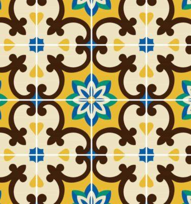 Tecido adesivo - Azulejos amarelos (50 x 100cm)