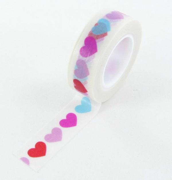 Washi tape - Corações rosa azul vermelho 0