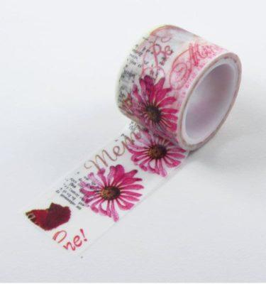 Washi tape - Floral rosa com pássaros