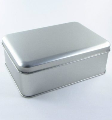 Latinha - Retangular prata grande (15 x 11 x 6 cm)