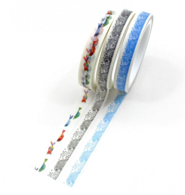kit 3 washi tapes peixes mar