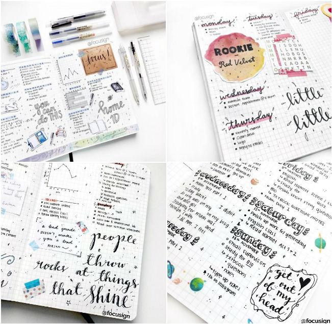 Lettering planner estudos inspiração