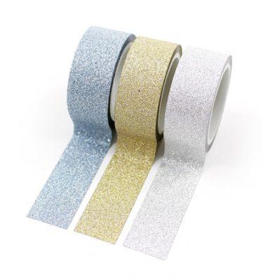Kit-3-Glitter-tape---Azul,-dourado-e-prateado