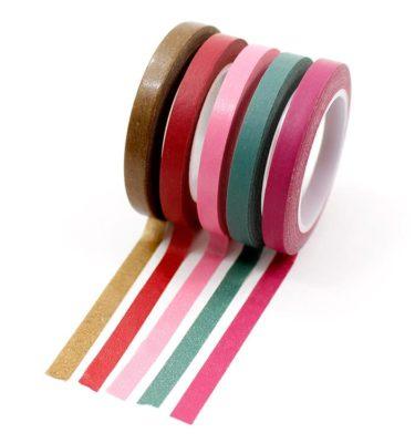 Kit-5-washi-tapes---Dourado,-vermelho,-rosa,-verde,-vinho