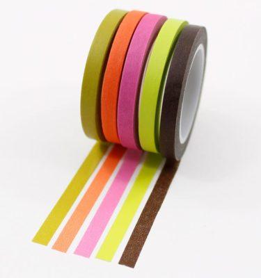 Kit-5-washi-tapes---Marrom,-verde,-rosa,-laranja-e-verde-musgo