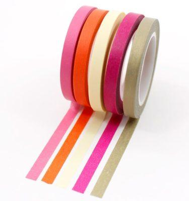 Kit-5-washi-tapes---Rosa,-laranja,-creme,-vinho-e-dourado
