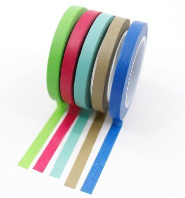 Kit-5-washi-tapes---Verde,-vinho,-azul-claro,-cinza-e-azul