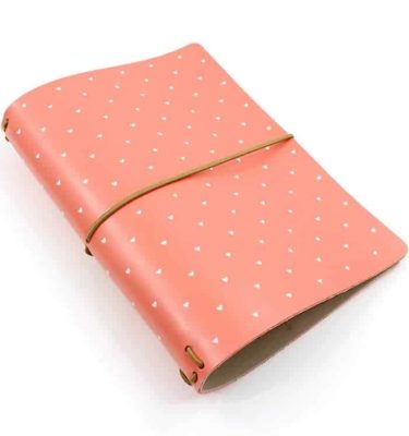 capa couro rosa coral com corações brancos Acraft  planner 3