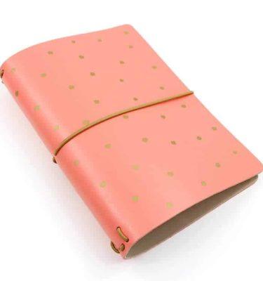 capa couro rosa coral com bolinhas douradas Acraft  planner 3
