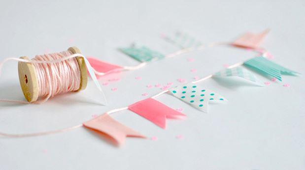 Como decorar uma festa com washi tape bandeirinhas
