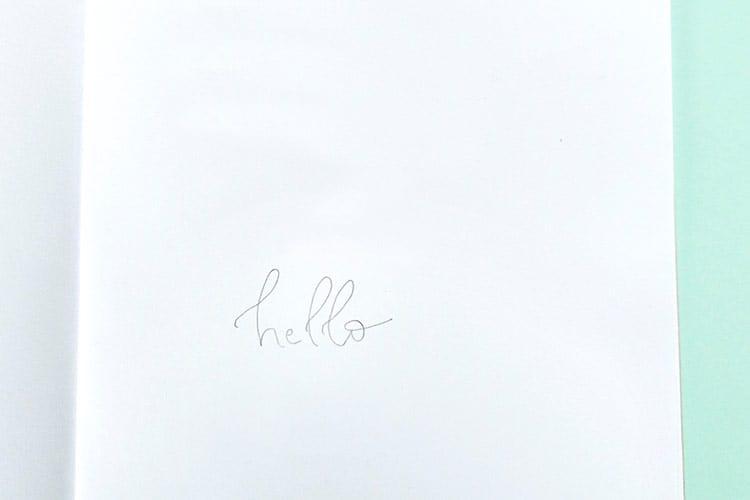 caligrafia falsa hello rascunho