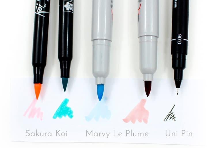 canetas ponta pincel - koi e Le Plume 5