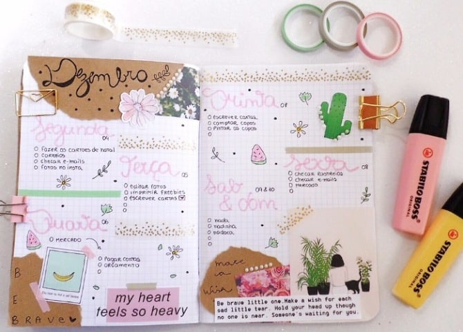 Como decorar o bullet journal sem gastar muito 2