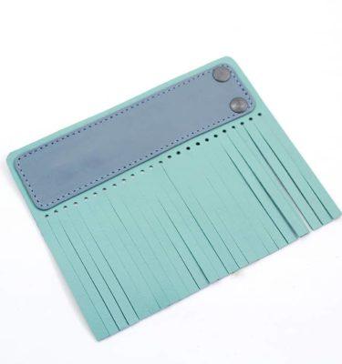 Acessório para Capa em couro original A.Craft - Linguetas com franja - Tarja azul bali e franja verde menta