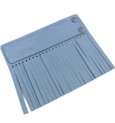 Acessório para Capa em couro original A.Craft - Linguetas com franja - Tarja e franja azul bali