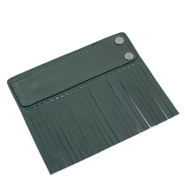 Acessório para Capa em couro original A.Craft - Linguetas com franja - Tarja e franja verde militar