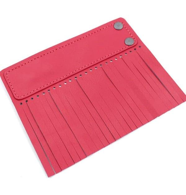 Acessório para Capa em couro original A.Craft - Linguetas com franja - Tarja e franja vermelho cerejab