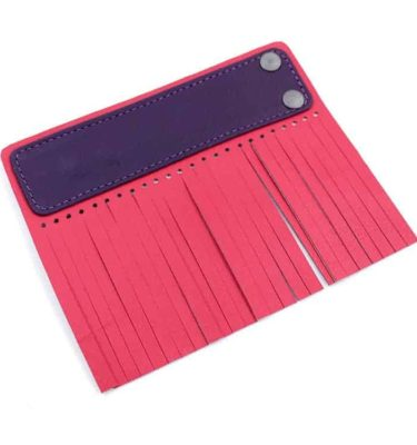 Acessório para Capa em couro original A.Craft - Linguetas com franja - Tarja roxo berinjela e franja vermelho cerejab