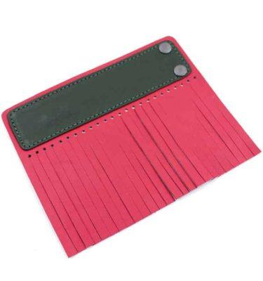 Acessório para Capa em couro original A.Craft - Linguetas com franja - Tarja verde militar e franja vermelho cerejab