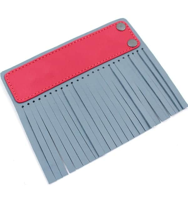Acessório para Capa em couro original A.Craft - Linguetas com franja - Tarja vermelho cereja e franja azul bali_b