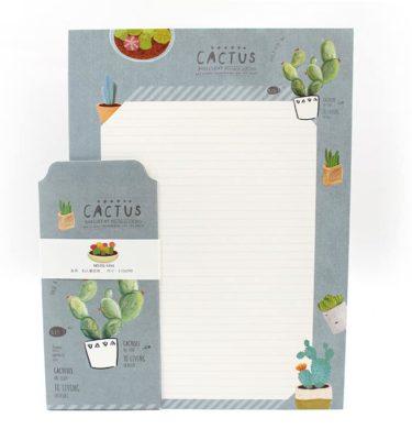 Papel de carta + envelope - Cactus - Padrão pautado e fundo bege e cinza