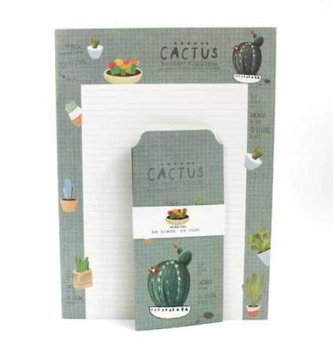 Papel de carta + envelope - Cactus - Padrão pautado e fundo bege e verde