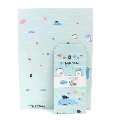 Papel de carta + envelope - azul - Baleia azul