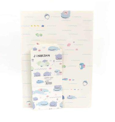 Papel de carta + envelope - branco - Baleia azul