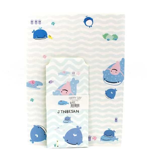 Papel de carta + envelope - ondas azul e branco - Baleia azul