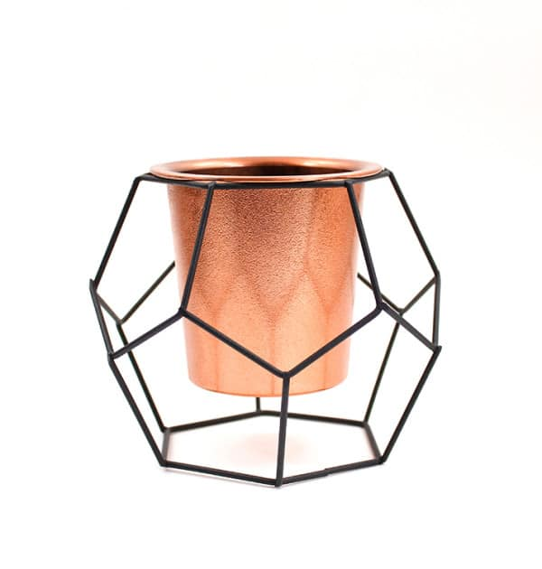 Vaso geométrico Black & Copper