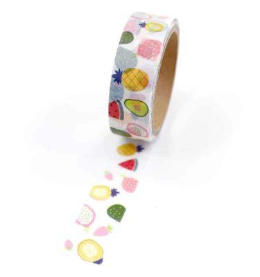 Washi tape – Frutas com fundo branco