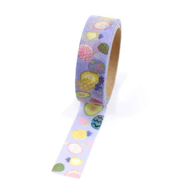 Washi tape – Frutas com fundo lilás