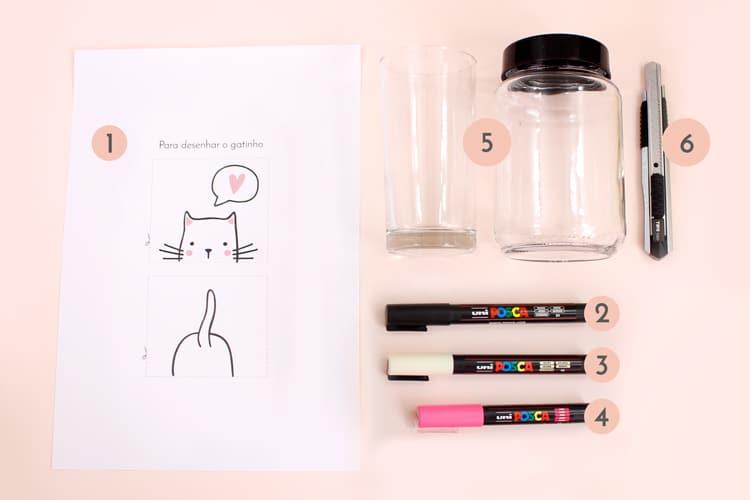 01 - personalizando potes com Posca - materiais