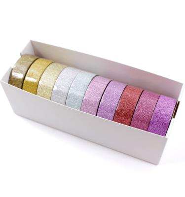 Kit com 10 washi tapes – Glitter - Roxo, pink, vermelho, lilás, rosa, azul claro, prata, dourado, ouro, ouro