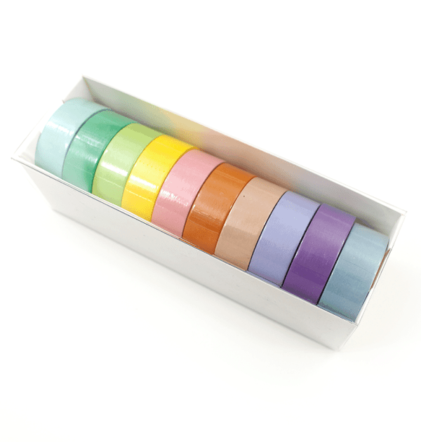Kit com 10 washi tapes – Tom pastel - Azul claro, roxo, lilás, nude, laranja, rosa, amarelo, verde claro, verde,