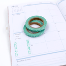 Kit com 2 washi tape – Menta com flor de hibisco transparente5