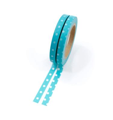 Kit com 2 washi tape – Poá azul e branco