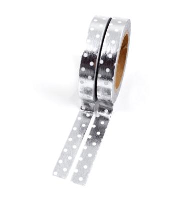 Kit com 2 washi tape – Poá prata e branco