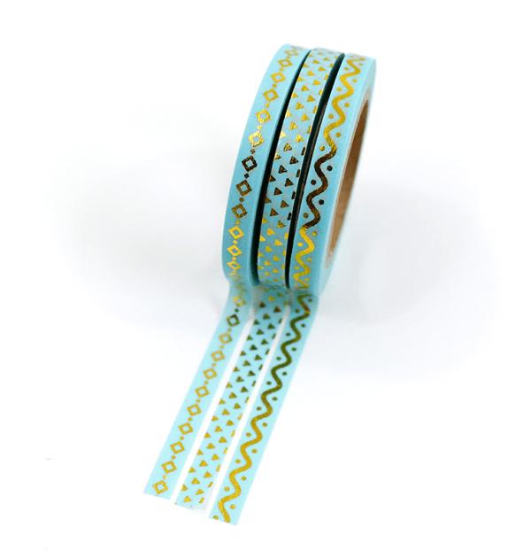 Kit com 3 washi tapes – Menta com triângulos, losangos e onda dourada