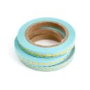 Kit com 3 washi tapes – Menta com triângulos, losangos e onda dourada2