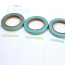 Kit com 3 washi tapes – Menta com triângulos, losangos e onda dourada4