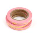 Kit com 3 washi tapes – Rosa com setas, triângulos e bolinhas douradas3