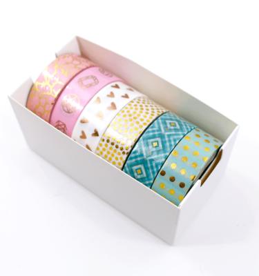Kit com 6 washi tapes – Menta, branco e rosa com padrões dourados de bolinhas, losangos, corações, marble