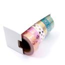 Kit com 6 washi tapes – Menta, branco e rosa com padrões dourados de bolinhas, losangos, corações, marble 2